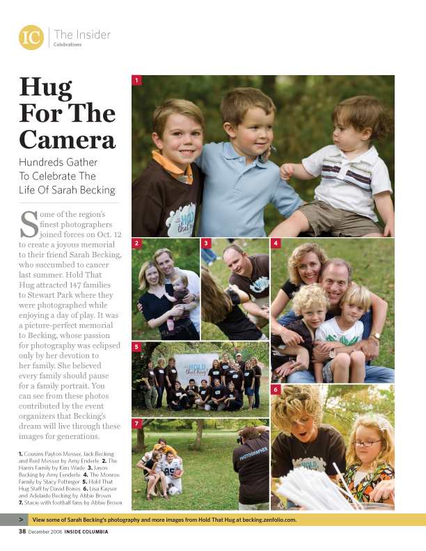 Hug For the Camera  -- Hundreds Gather to Celebrate The Life of Sarah Becking